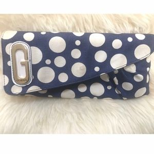 Canvas Guess clutch blue and ivory
